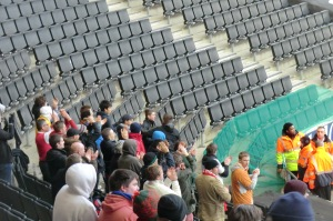 Luton fans out in support.
