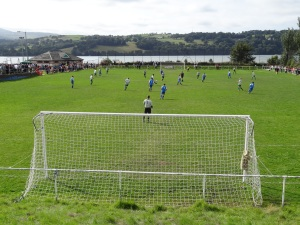 Glan Conwy FC, River Conwy behind the ground.